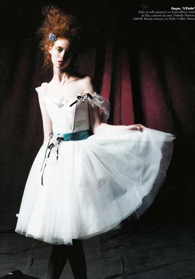 Nathalie Durieux designed this taffeta dress with a blue satin ribbon