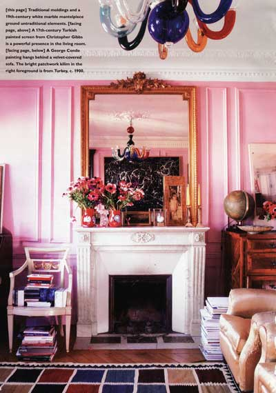 Living room isn t this charming pink walls combine wonderfully