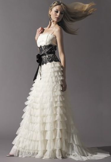 jessica mcclintock s bridal dress with black lace bodice is for you