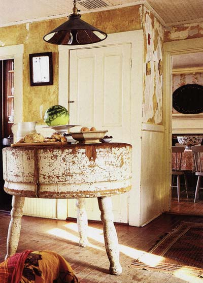 Butcher block table on not only does this antique round butcher block