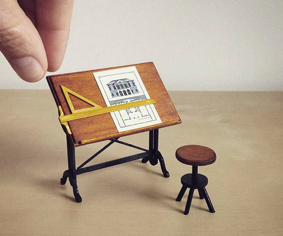 little architecture drafting table and stool